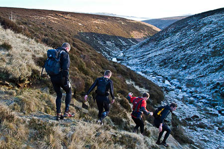 Runners tackle the frozen moors during The Trigger. Photo: Gordon Gibbons