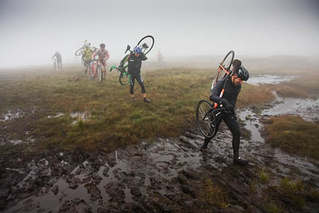 Conditions under-wheel and foot were heavy for riders