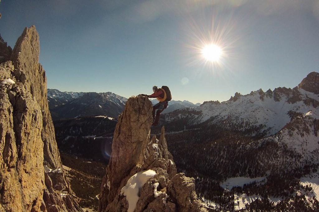 Tom Ballard in action in the Dolomites. Photo: Ballard Images