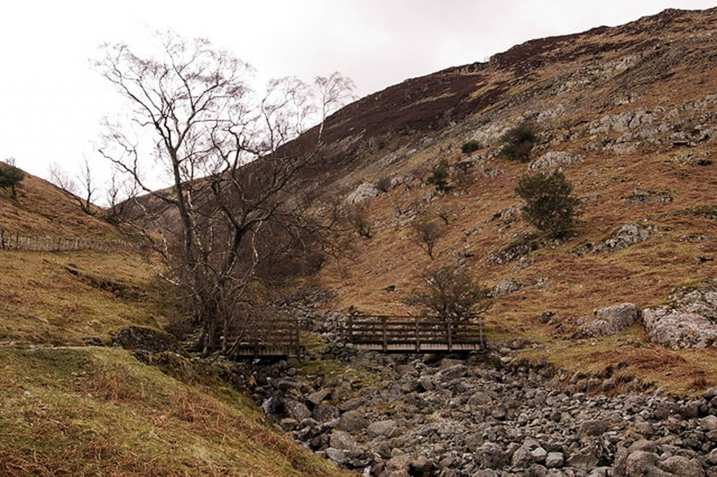 The woman was stretchered from Tongue Gill, above Borrowdale. Photo: Ian Capper CC-BY-SA-2.0