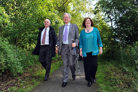 Environment Minister Stewart Stevenson, left, with Scottish Natural Heritage chief executive Ian Jardine and VisitScotland regional director Shona Anderson on the Formartine and Buchan trail. Photo: Duncan Brown