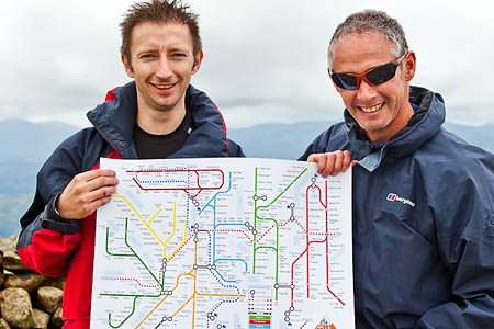 Peter Burgess and his brother Paul with the map, on Fairfield. Photo: James Hoye