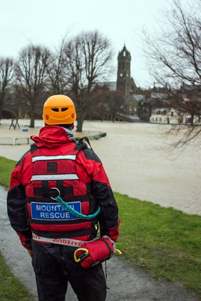 A Tweed Valley team member on duty during the Storm Frank floods. Photo: Tweed Valley MRT