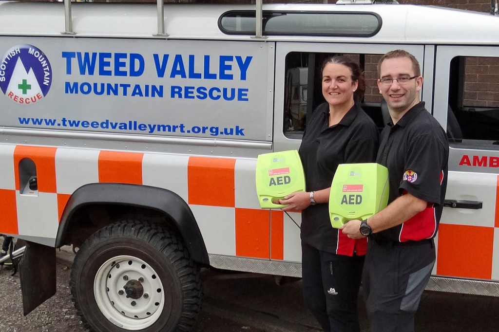 Team members show off the two AEDs shortly after they were acquired. Photo: Tweed Valley MRT