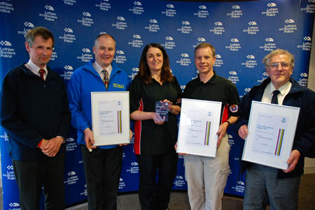 Representatives show their awards at the ceremony: from left, Stuart Fuller-Shapcott, BSARU; David Fuller-Shapcott. BUWST; Rhona Morrison and Steve Penny TVMRT; and Brian Tyson BSARU