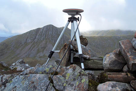 Survey equipment on the summit of Sgùrr a' Bhac Chaolais. Photo: John Barnard