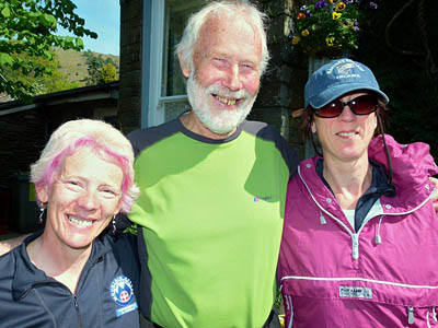 Sir Chris with Gail, left, and Judy