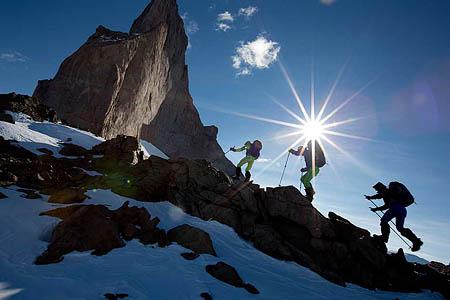 Team members go up the ridge leading to the base of Ulvetanna. Photo: Alastair Lee/Berghaus