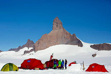 Base camp with Ulvetanna in the background, 5km away. Photo: Alastair Lee/Berghaus