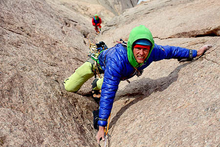 Leo Houlding on the mountain's headwall. Photo: Alastair Lee/Berghaus