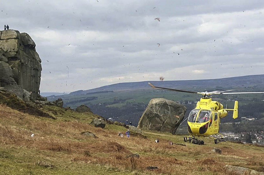 The air ambulance at the scene of the incident. Photo: UWFRA