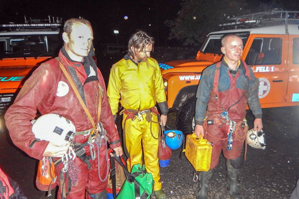 Members of the 'through' team emerge in the early hours after traversing the system. Photo: UWFRA