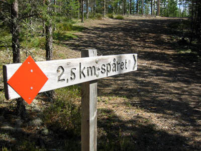 Waymarking on the Vasaloppsled route in Sweden