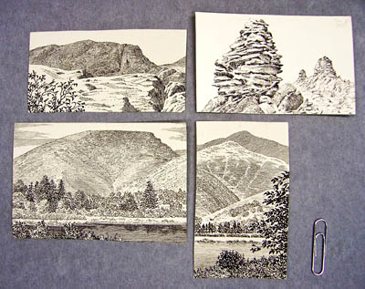 Some of the sketches in the Wainwright archive. Images: Wainwright estate