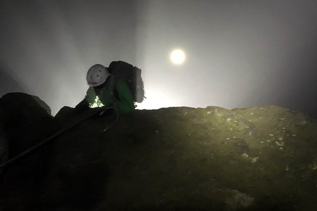 A rescuer at the scene on Broad Stand. Photo: Wasdale MRT