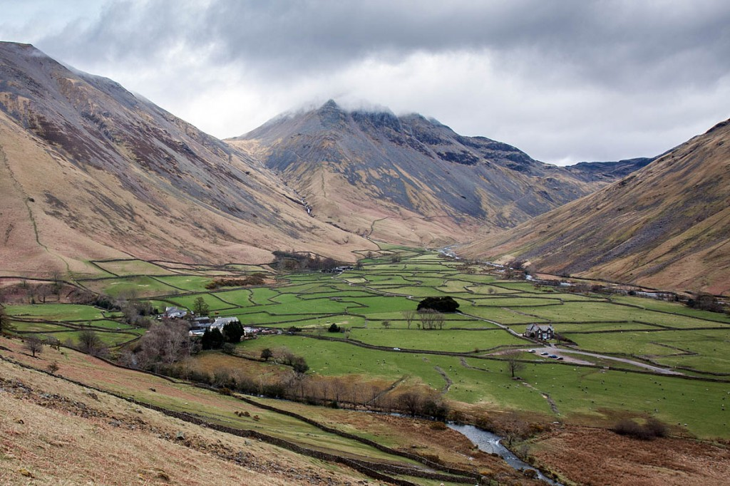 The camper was walked back down to Wasdale Head from Gavel Neese, centre