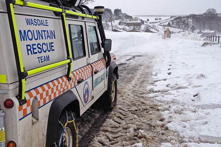 One of the Wasdale team's vehicles in action during the rescue of motorists in west Cumbria. Photo: Wasdale MRT