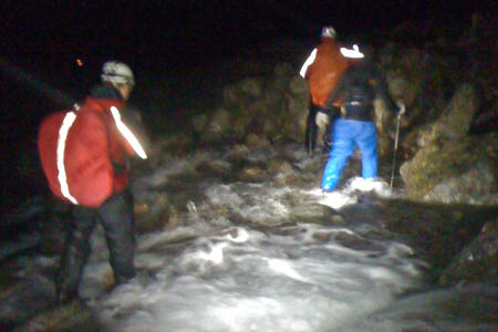 Rescuers in action during the Scafell Pike incident
