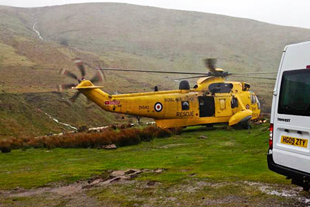 The RAF helicopter at the Llyn y Fan Fach
