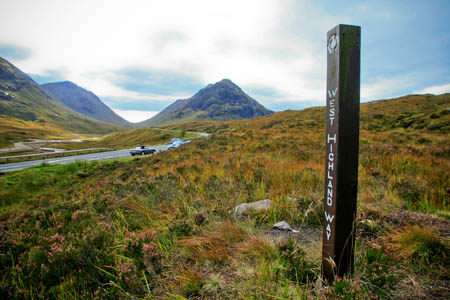 The West Highland Way is one of few waymarked routes in Scotland