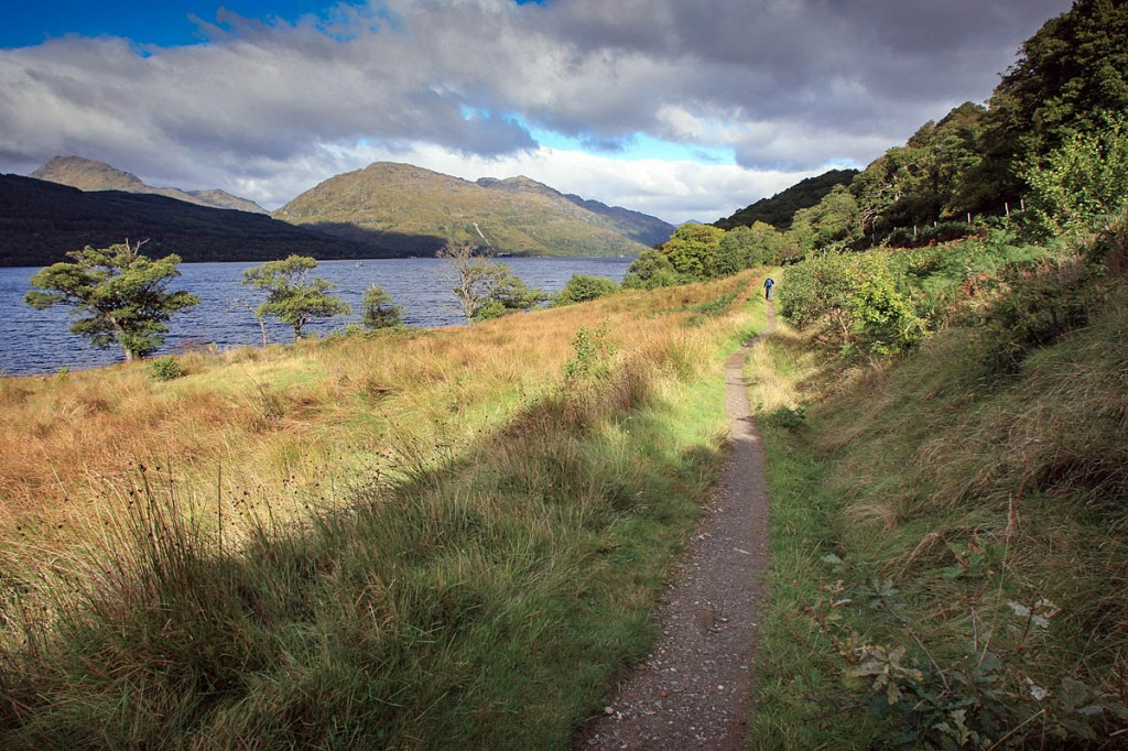 The West Highland Way runs along the east shore of Loch Lomond