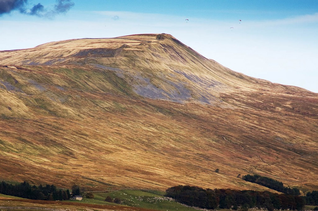 The paraglider crash landed on Whernside's summit ridge