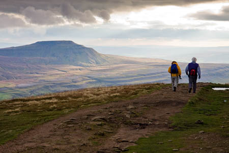 The route took in Whernside summit and the distant Ingleborough