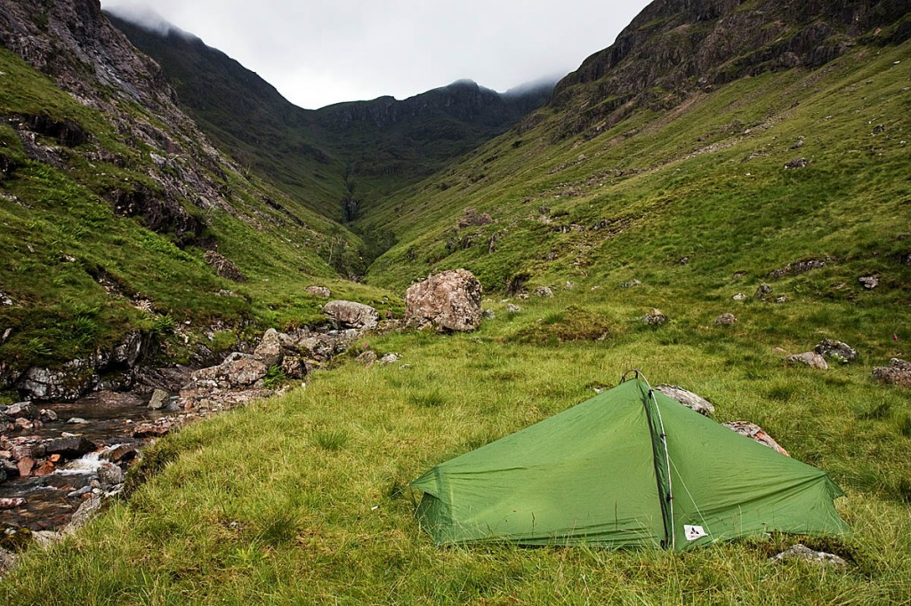 Wild camping, such as this one in Coire Gabhail, Glen Coe, is permitted under Scots law. Photo: Bob Smith/grough