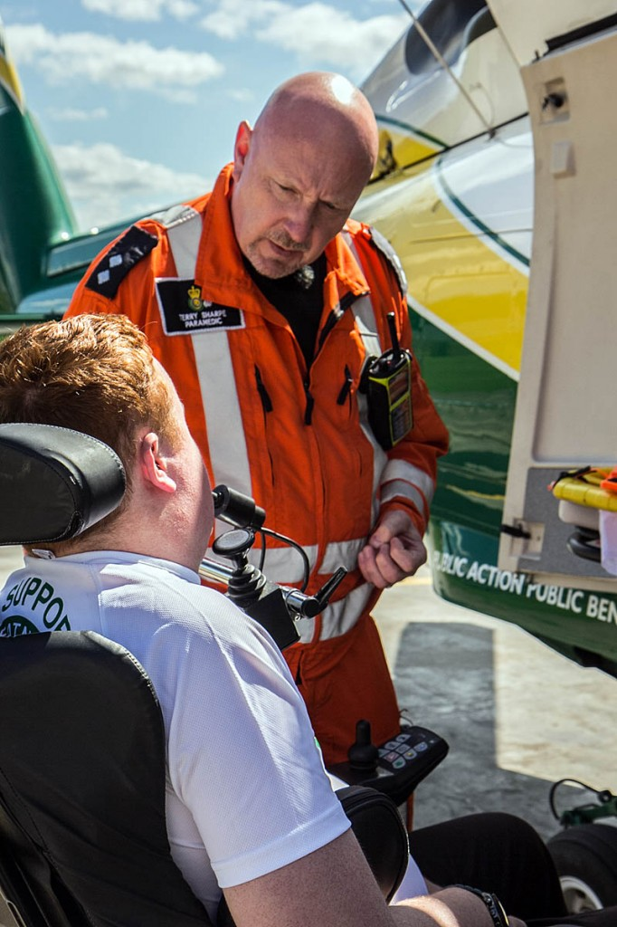 Will Clark meets GNAAS paramedic Terry Sharpe. Photo: Leah Parker-Turnock