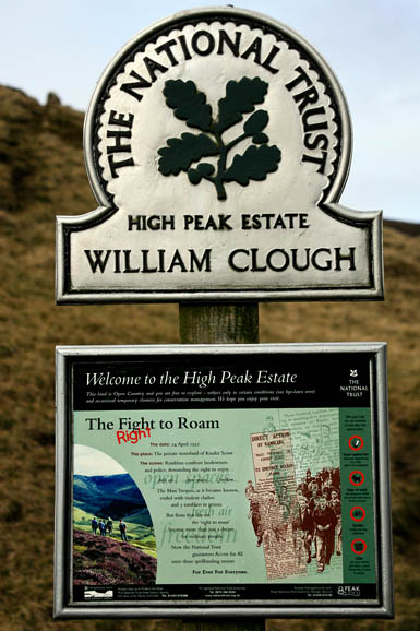 The National Trust owns important sites such as William Clough on Kinder Scout, site of the 1930s mass trespass
