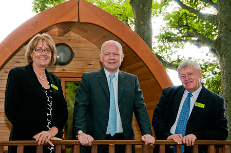 grough — Hague praises 'glamping' pods on youth hostel visit