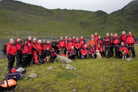 Team photocall for rescuers with their patron