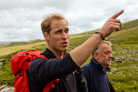 William on his way up Helvellyn last year with mountain rescuers