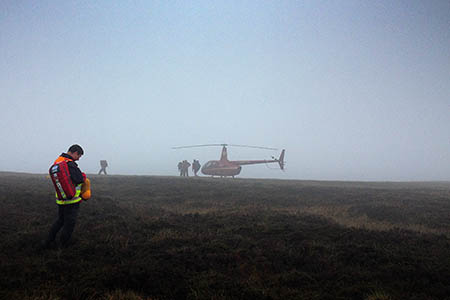 Mountain rescuers at the scene of the emergency landing. Photo: Woodhead MRT