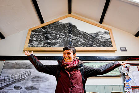 Tessa Lyons with her work at the hostel